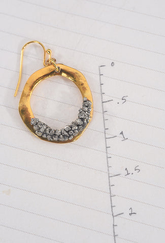 Brass Circle/Pyrite Earrings