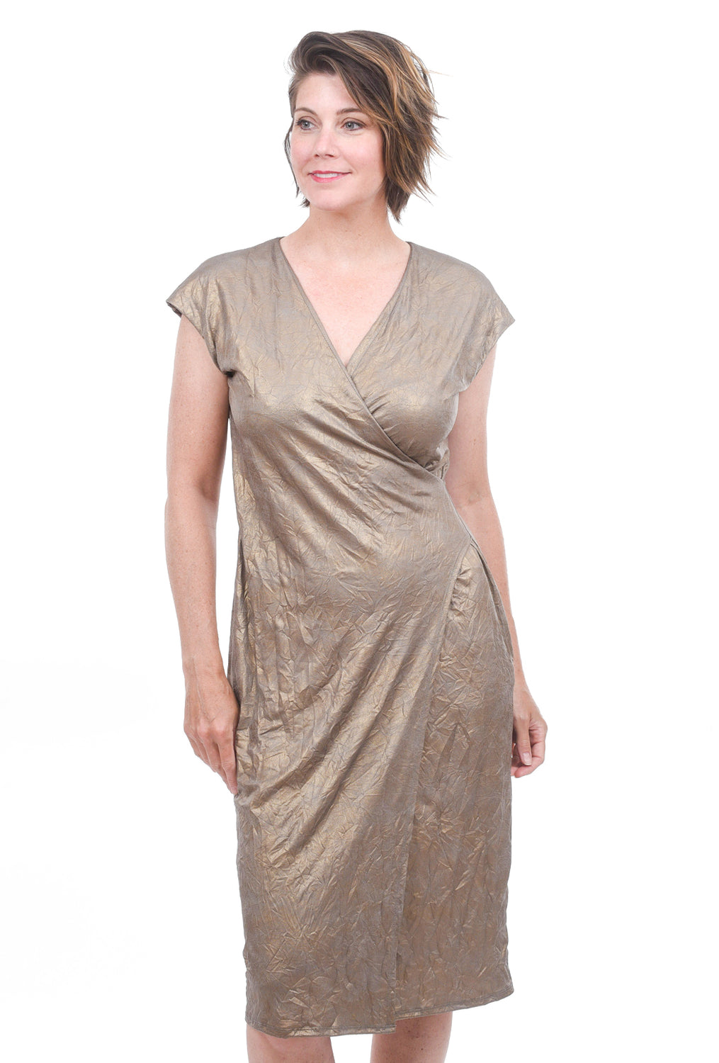 T/9 Metallic Wrap Dress, Gold