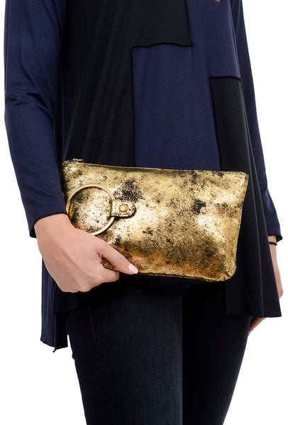 Kim White Ring Clutch, Gold Metallic