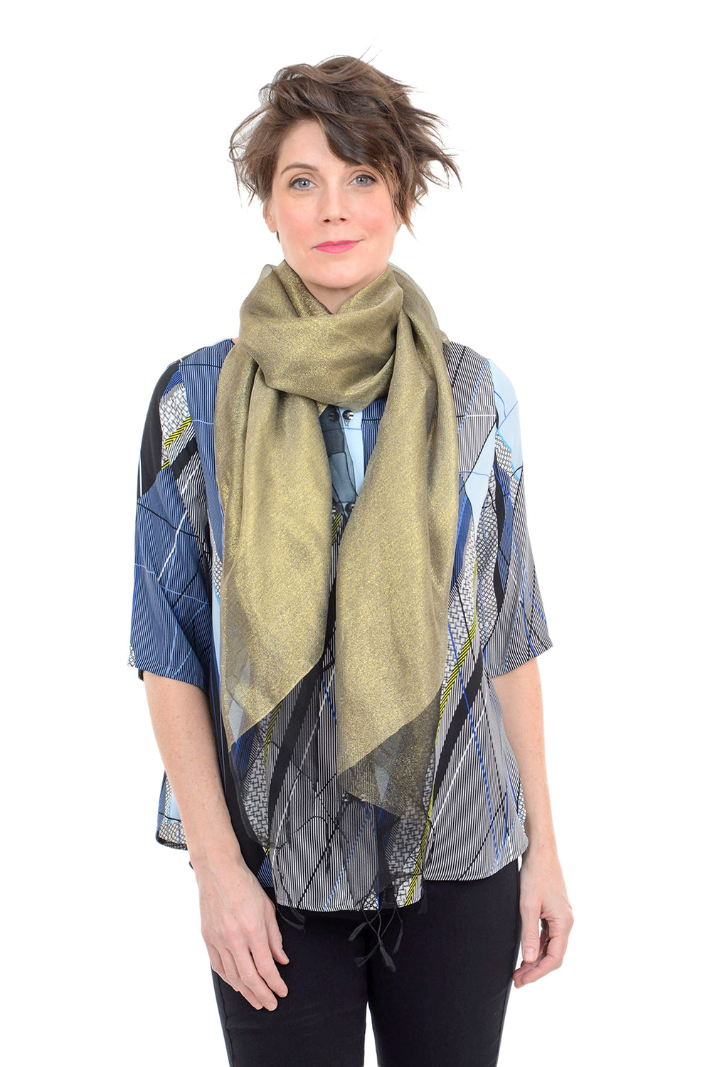 Paisley Road Double-Layer Silk/Lurex Scarf, Black/Gold