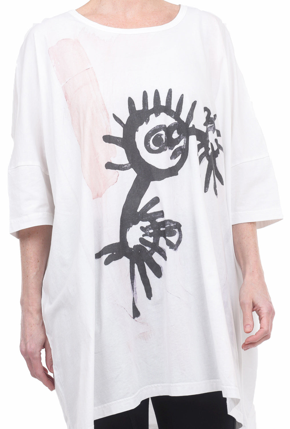Rundholz Black Label Sad Urchin Tunic, White/Rose One Size White