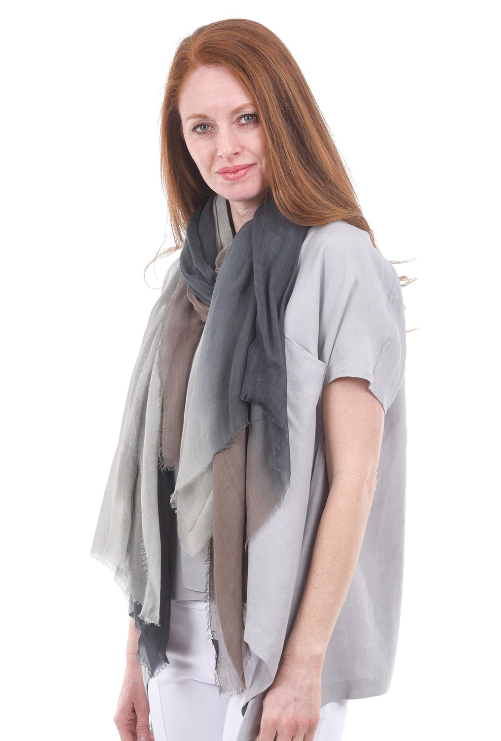Blue Pacific Dream Scarf, Taupe/Slate