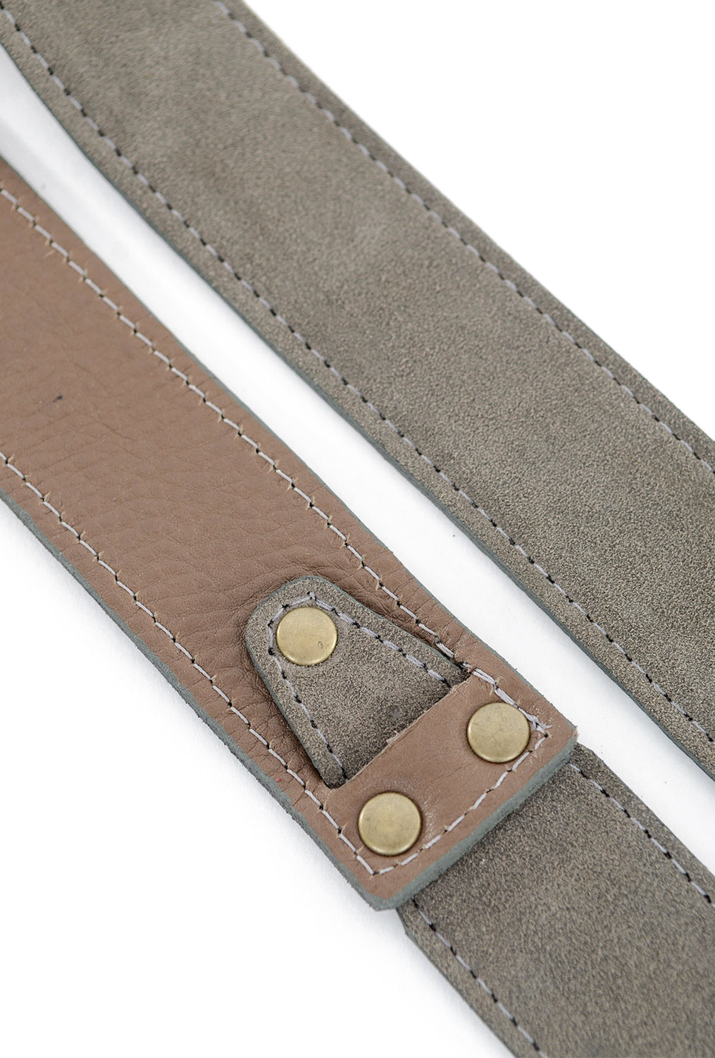 Kim White Double-Ring Belt, Gray Suede