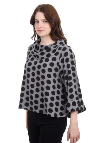 Crepe Dot Cowl Top, Gray/Black
