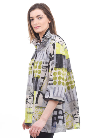Moonlight Contrast Seamed Print Jacket, Lime
