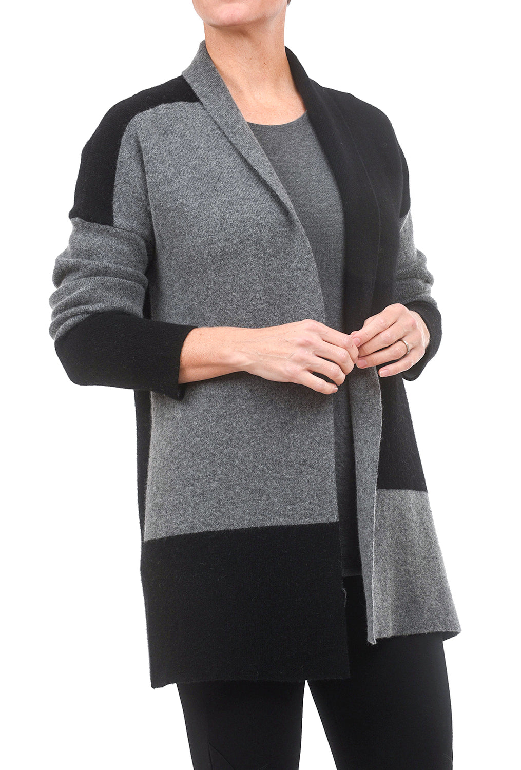 Kokun Colorblock Double-Faced Cardie, Charcoal/Black
