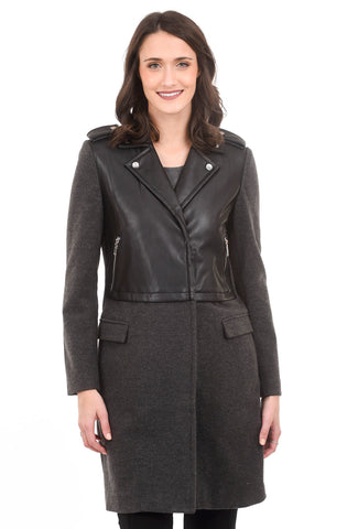Patrizia Luca Wool/Pleather Jacket, Gray/Black