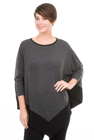 Stark x Plush Pointed Contrast Top, Charcoal