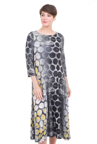 Alembika Bika Knit Simple A-Line Dress, Gray Hive Print