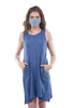 Coin1804 Cotton Jersey Face Mask, Chambray Denim