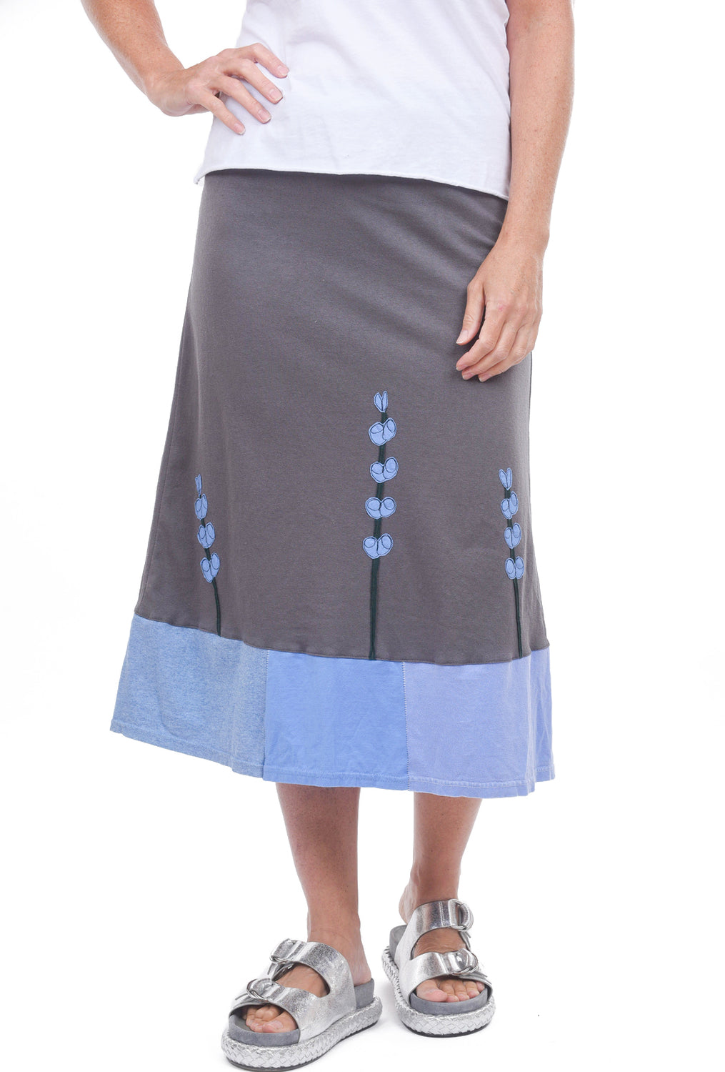 Sardine Clothing Company Longer Recycled Tee Skirt, Gray Lupine