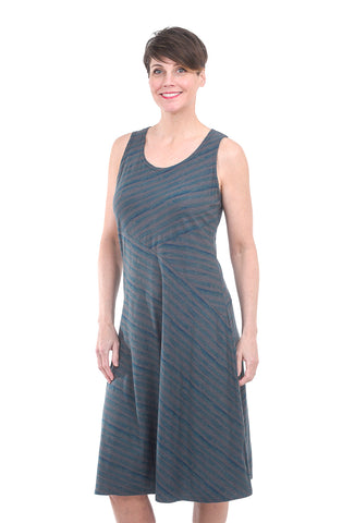 Cut Loose Brushstroke Stripe Dress, Iron Gray