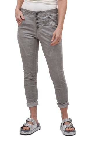 Femme Fatale Mineral-Dye Button Fly Pants, Gray