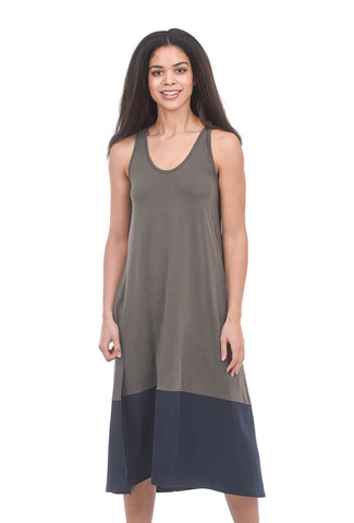 COA Contrast-Bottom Midi Tank Dress, Olive/Black