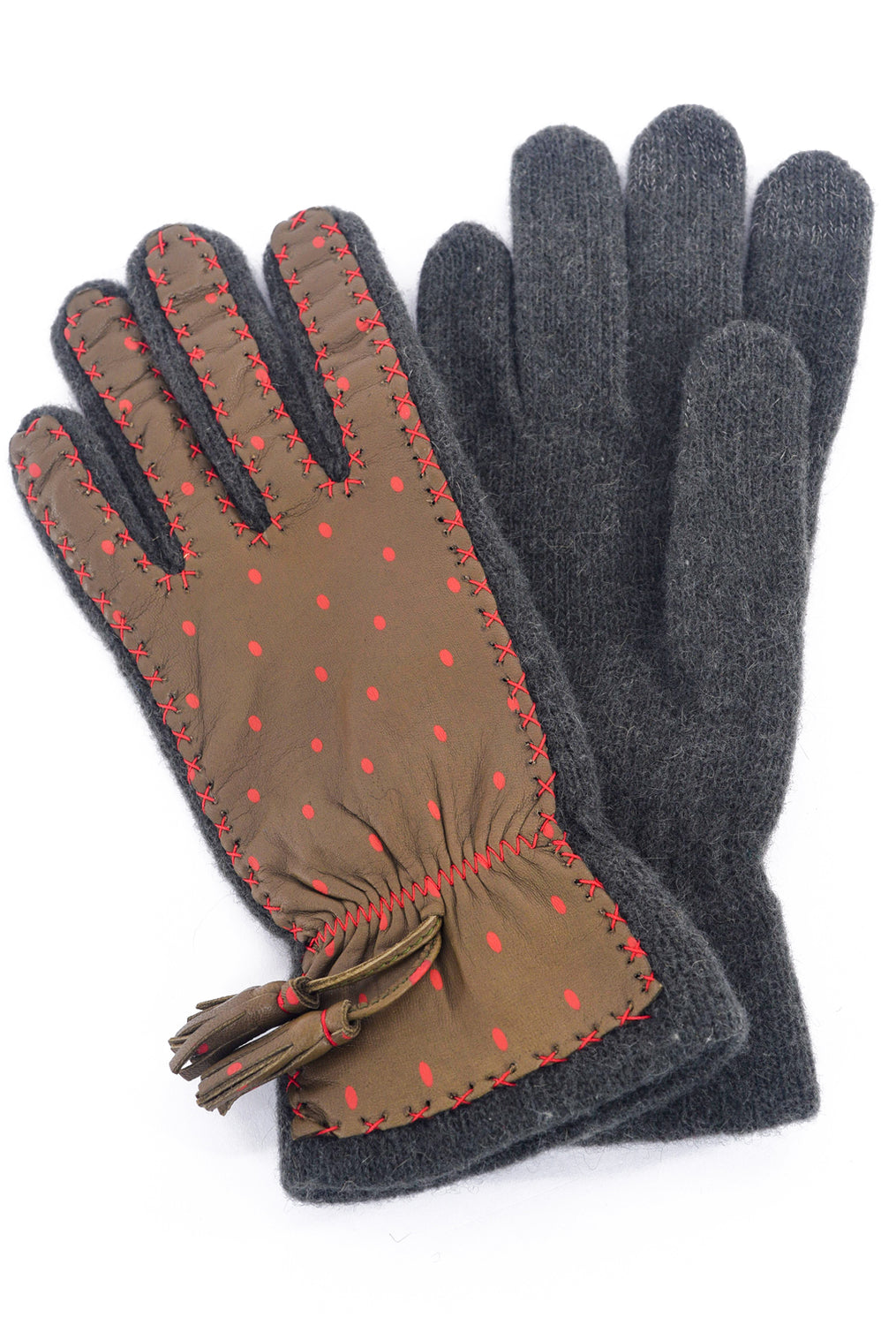 Santacana Madrid Leather & Knit Dots Gloves, Army/Orange One Size Army