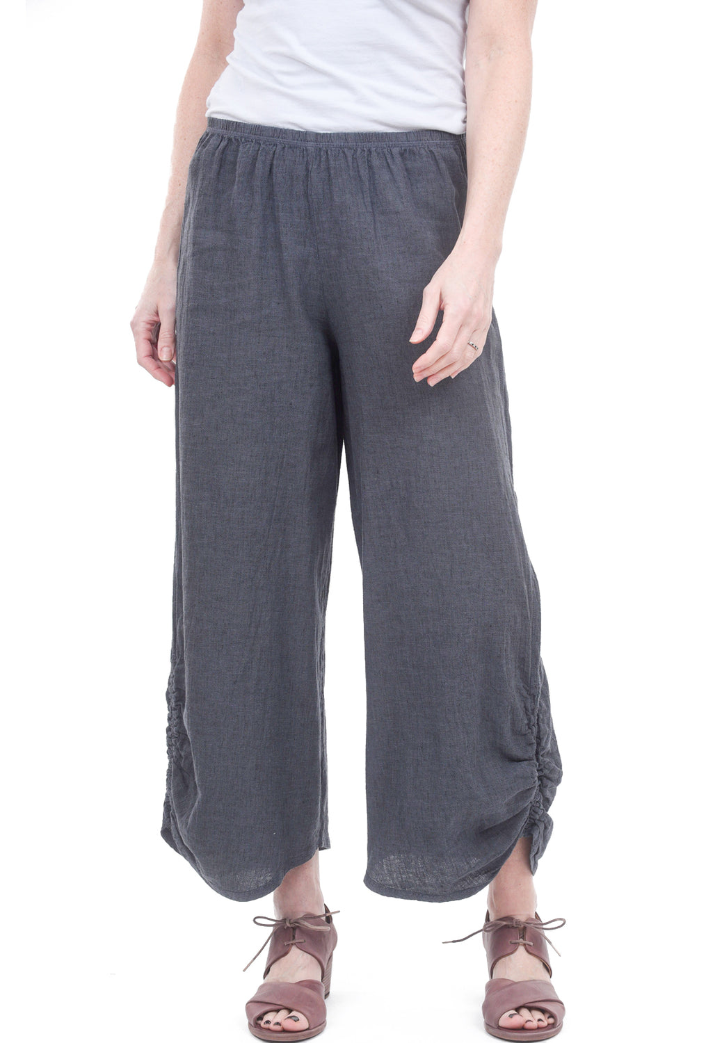 Cut Loose Crosshatch Ruched Pants, Iron Gray