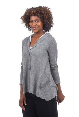 Fenini Marled Knit Hoodie, Gray Heather