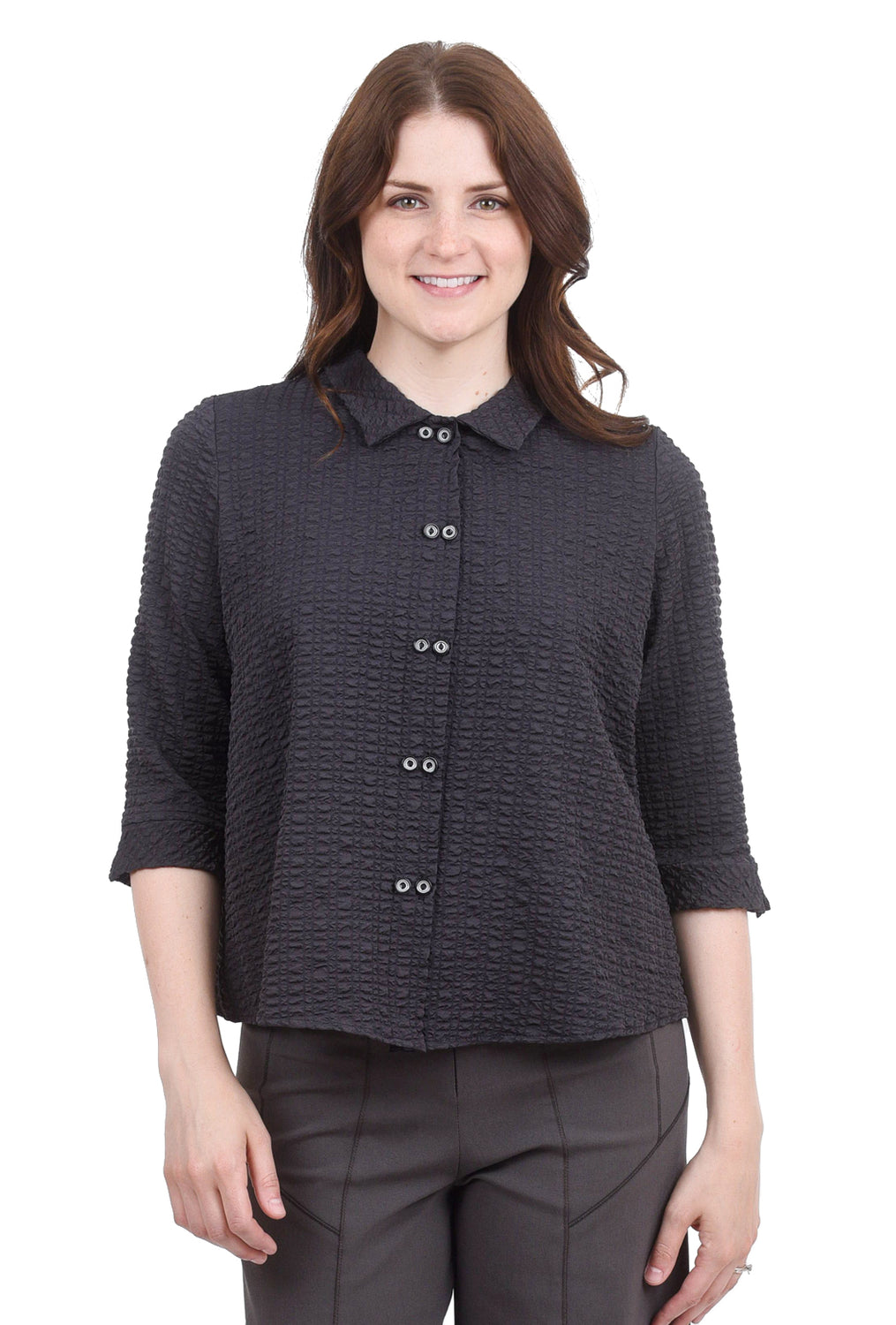 Niche Pucker Twinbutton Top, Pewter