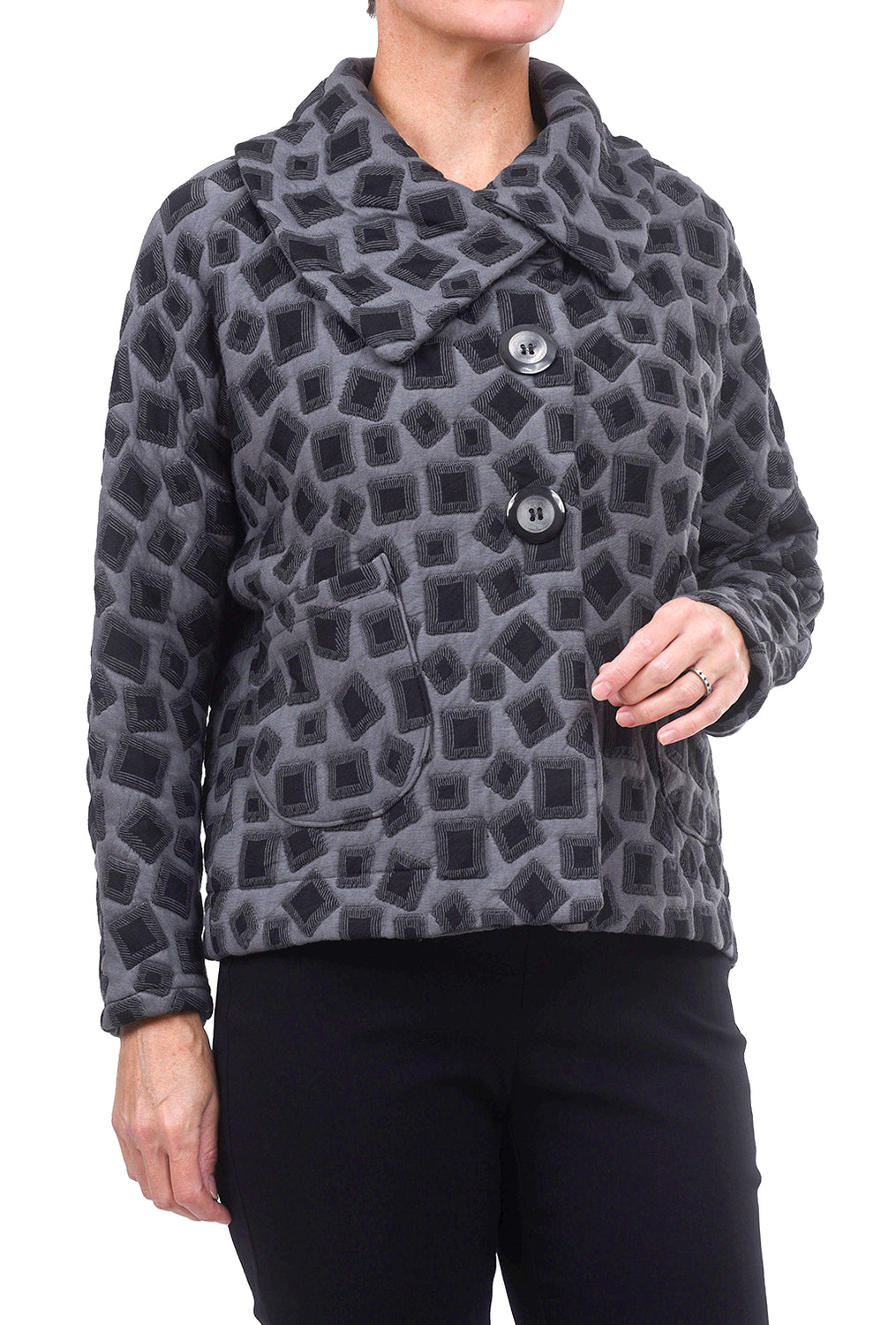Niche Square Knit Sidecar Jacket, Gray Multi