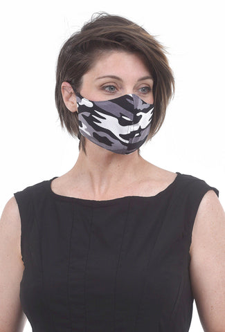 Color Me Cotton CMC Print Face Mask, Gray Camo
