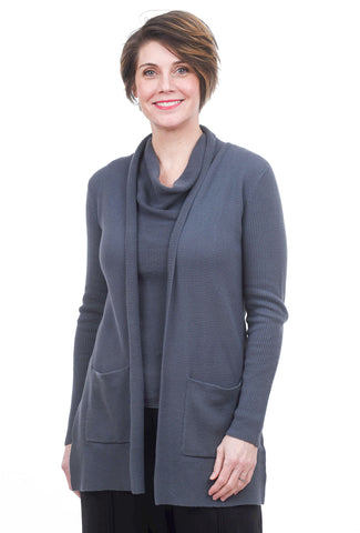 Margaret O'Leary Knits Thermal Duster, Blue Slate