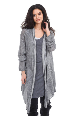 Umit Unal Long Linen-Knit Cardie, Gray