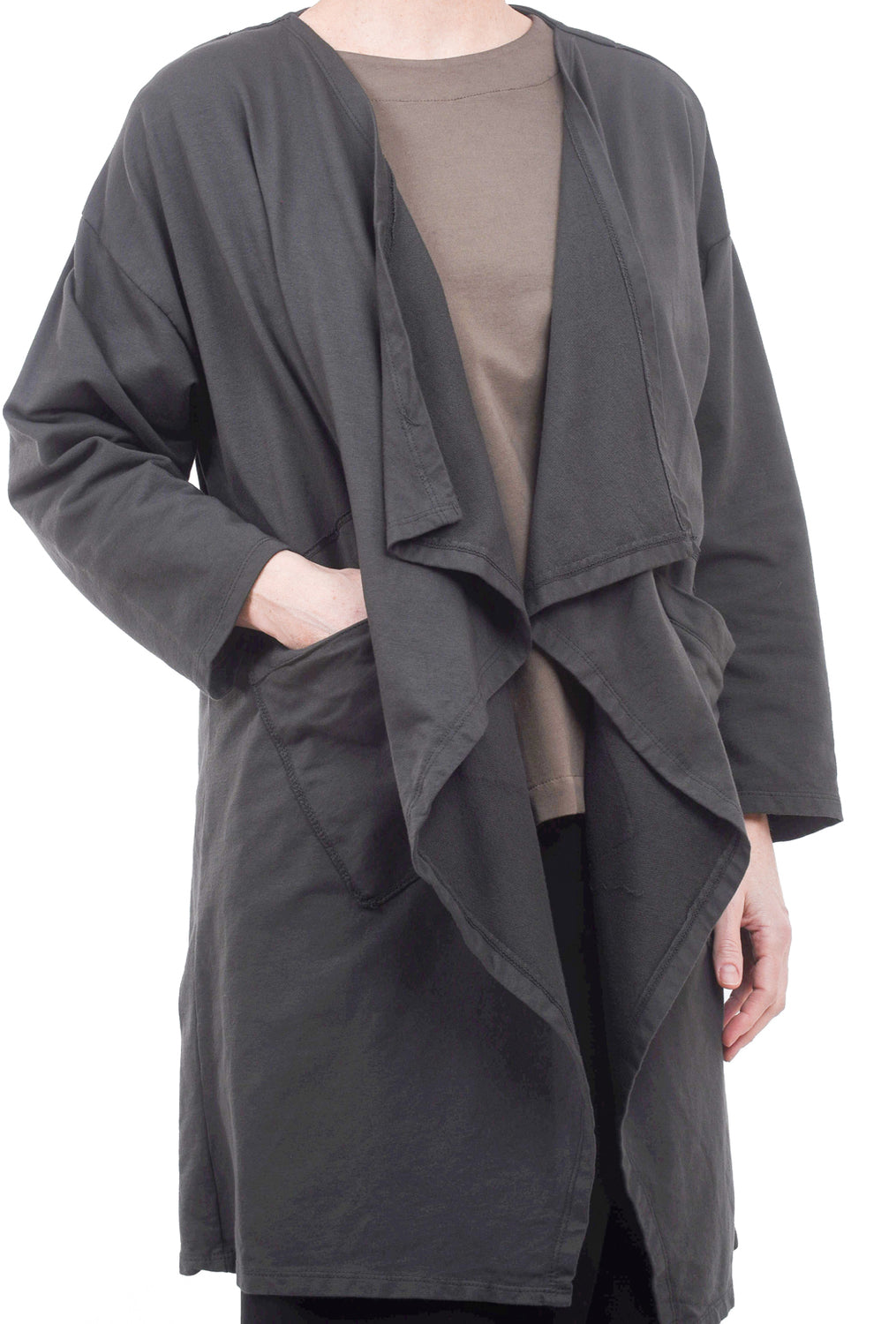 Oro Bonito Drape Lapel Pocket Cardie, Charcoal One Size Charcoal