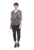 Inoah Checker Field Dolman Top, Navy