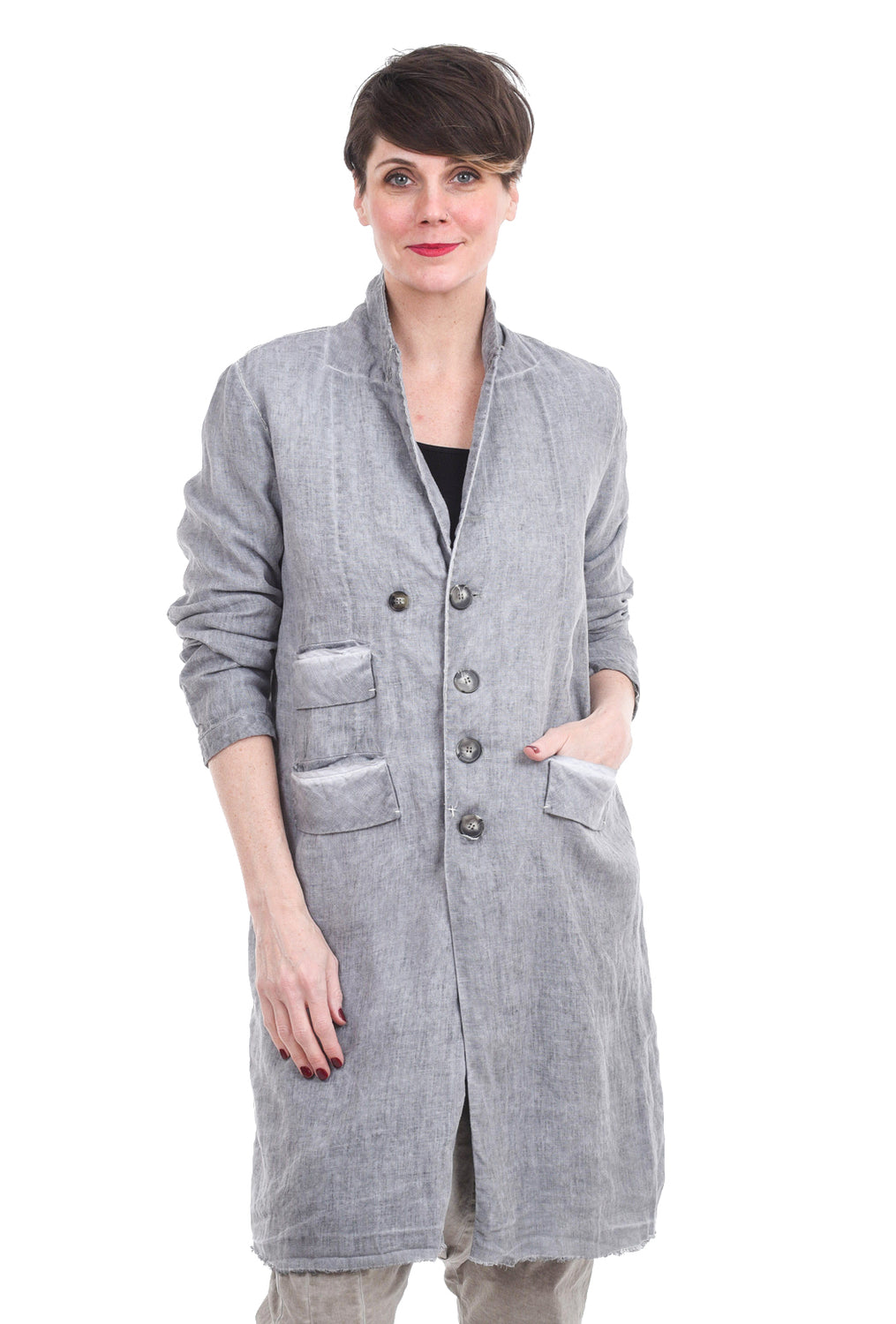 Umit Unal Linen Car Coat, Gray