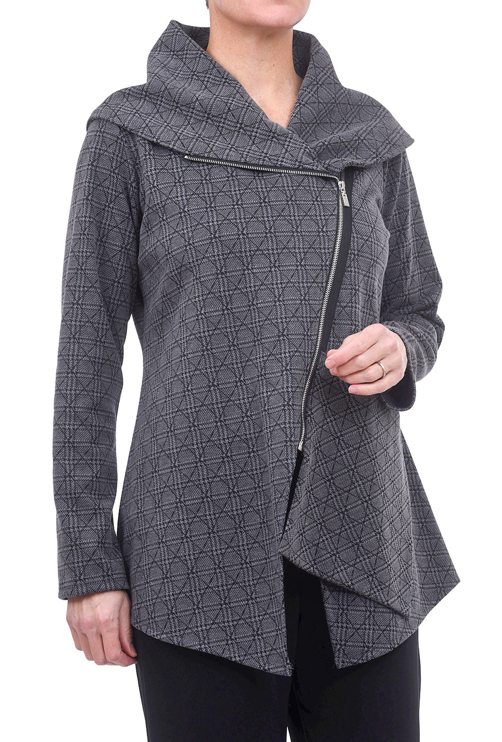 Comfy USA Ponte Paris Jacket, Gray Plaid