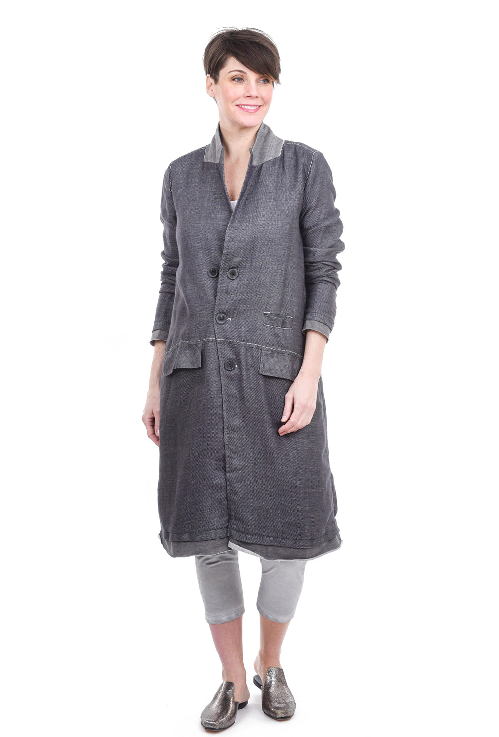 Umit Unal Stitched Details Topcoat, Gray