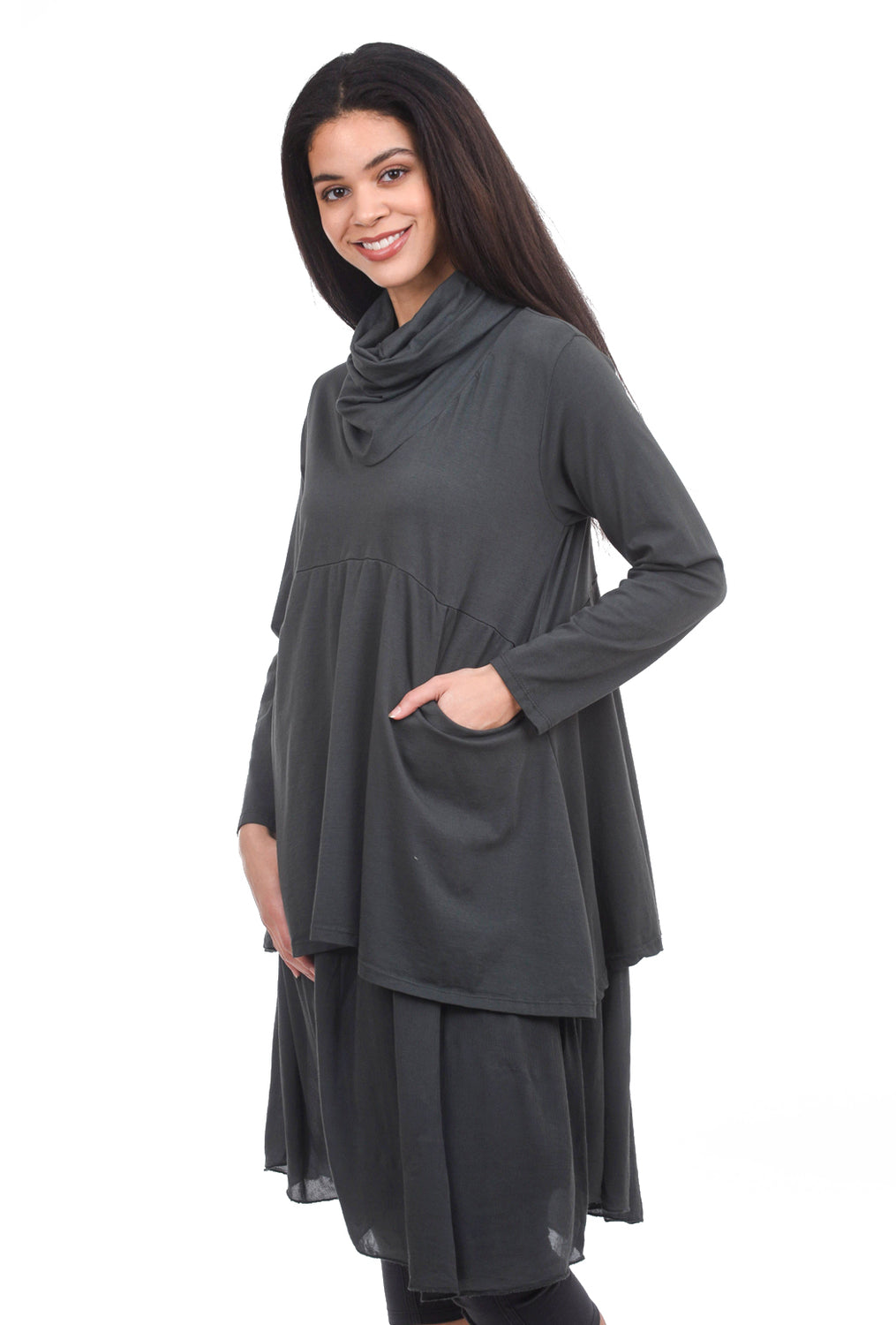 Oro Bonito Double-Layer Cowl Dress, Charcoal One Size Charcoal