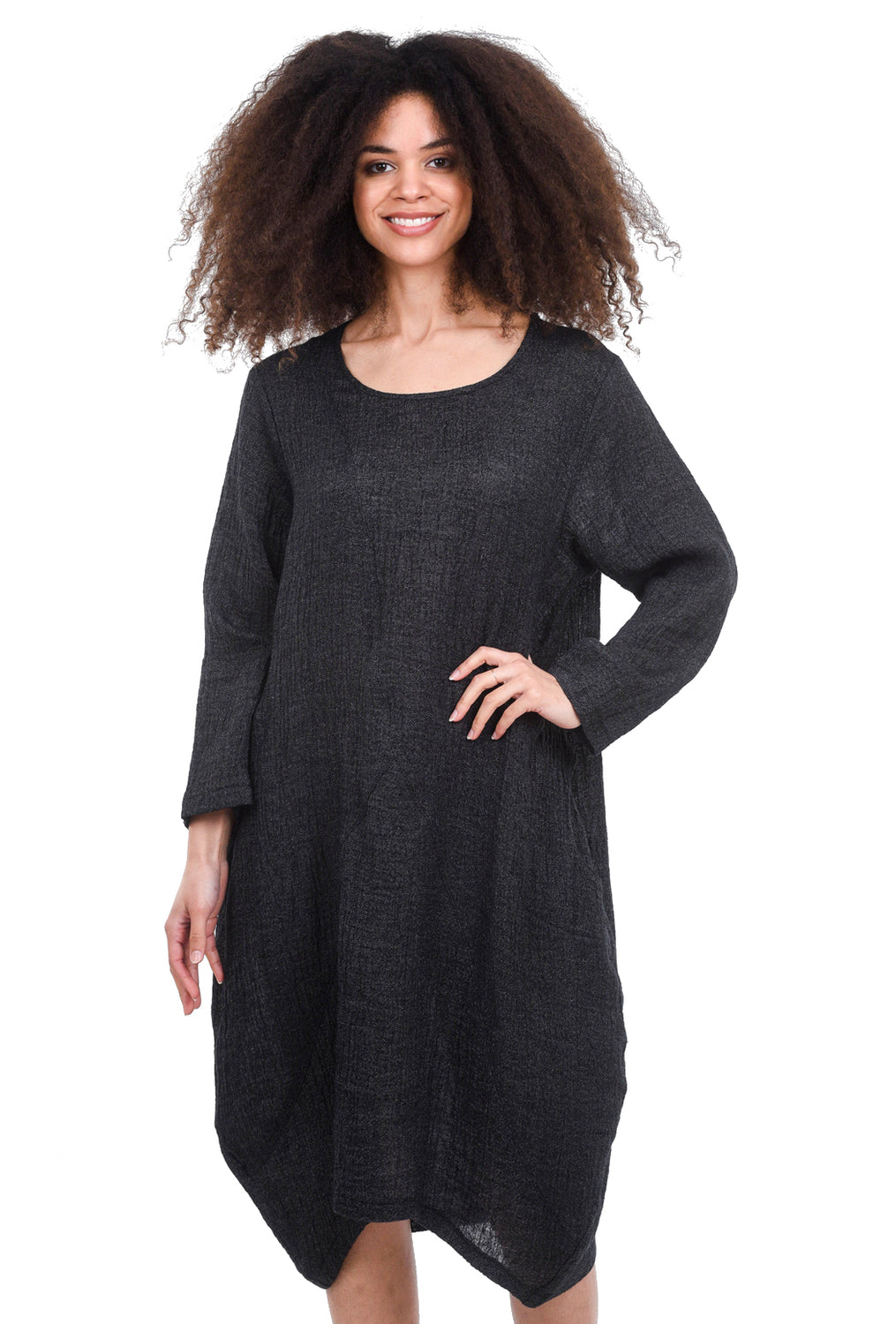 M Square Geometric Linen Dress, Night