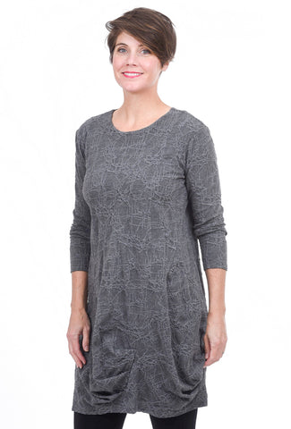 Niche Web Knit Spiral Tunic, Gray