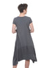 Oro Bonito Linen Details Cap-Sleeve Dress, Charcoal One Size Charcoal