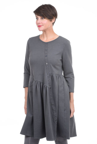 Baci Pleated Asym Button Dress, Cement Gray