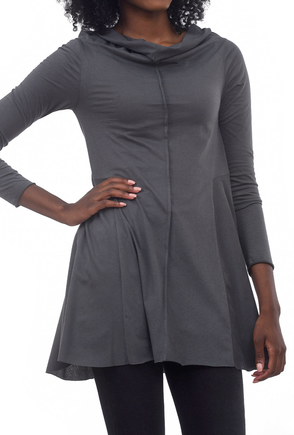 Ozai Ipomea Fit Flare Top, Gray