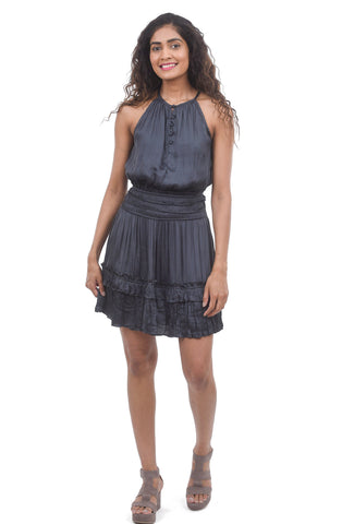 Current Air Halter Neck Pleat Dress, Charcoal