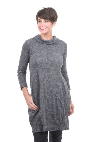 Niche Web Knit Leaf Tunic, Gray