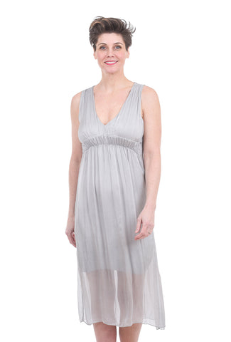 Tempo Paris Empire Grecian Gown, Silver