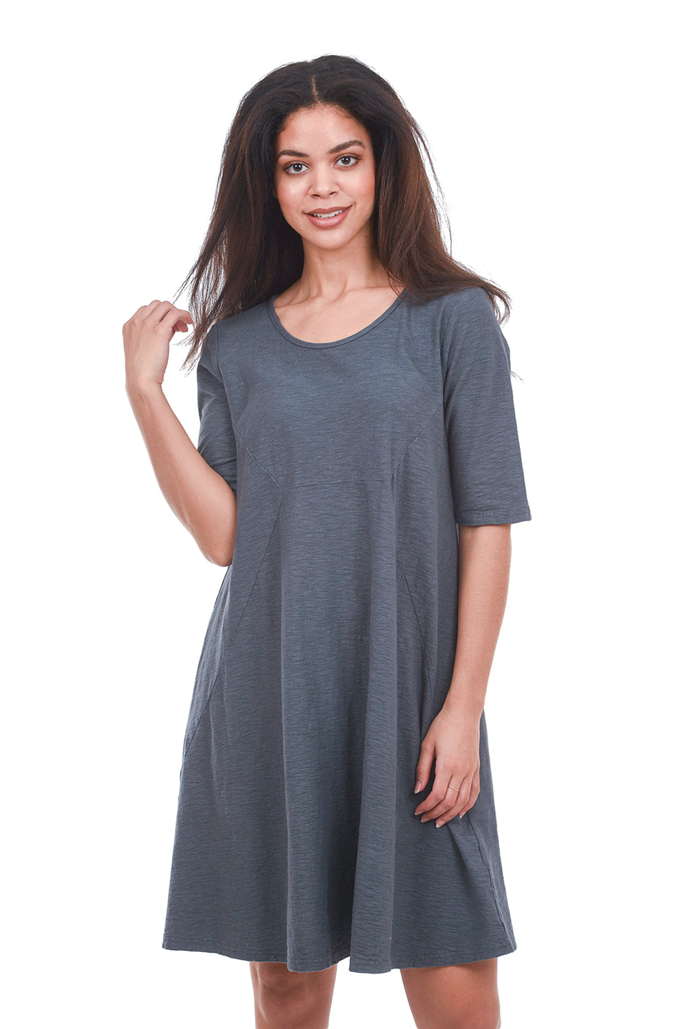 Cut Loose LJ Elbow-Sleeve Tunic, Iron Gray