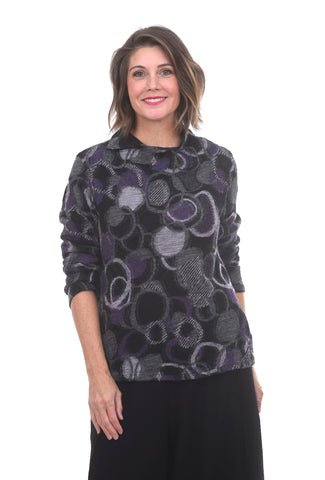 Ji-U Gauzey Circles Sweater, Black/Purple