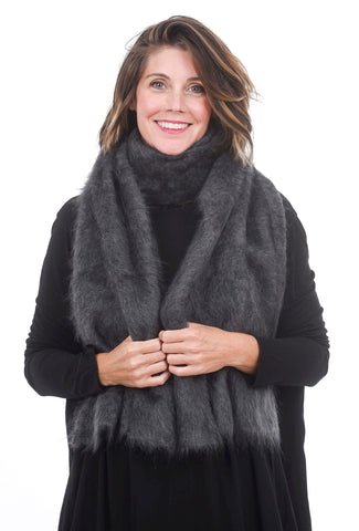 Grisal Big Furry Scarf, Charcoal One Size Charcoal