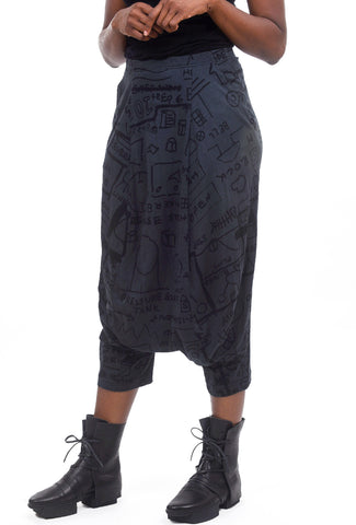 Rundholz Collection Extended Rise Jersey Pants, Dark Gray Print