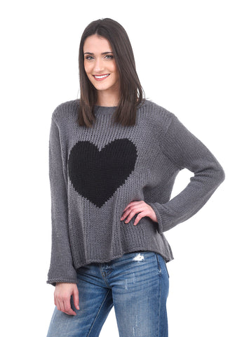 Wooden Ships Big Heart Sweater, Gunmetal Gray