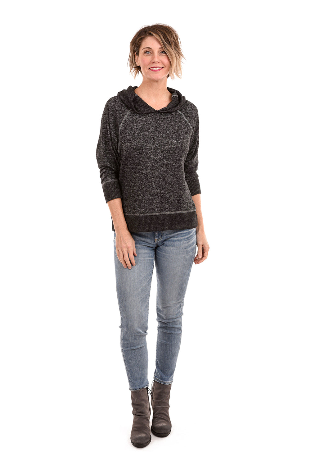 Sinuous Brushed Dolman Hoodie, Black