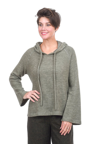 Sinuous Softy Bell-Sleeve Hoodie, Olive