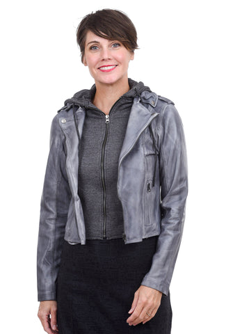 Jackett Molly Leather Jacket, Patina Steel