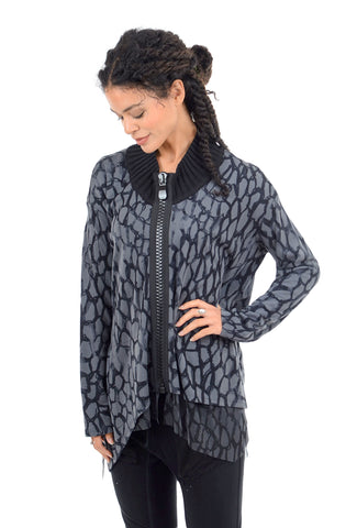 Kedziorek Scribble Big Zipper Jacket, Gray