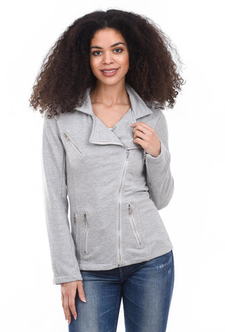 French Terry Moto Jacket, Heather Gray